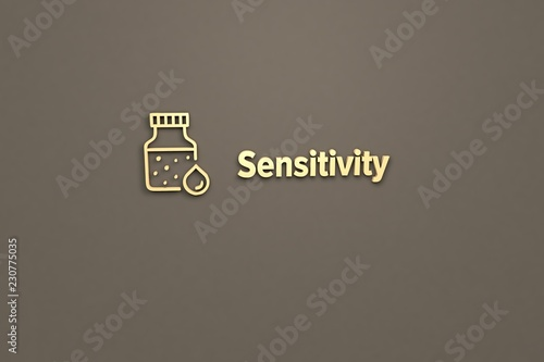 Fotografia  Text Sensitivity with yellow 3D illustration and brown background