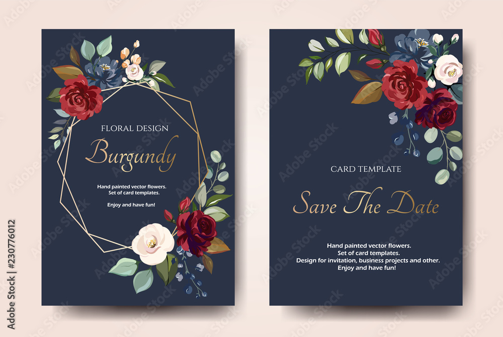 Fototapeta Set of card with flower rose, leaves. Wedding ornament concept. Floral poster, invite. Vector decorative greeting card or invitation design background