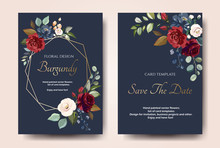 Set Of Card With Flower Rose, ...