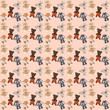 Colorful cute background with a set of plush toys