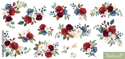 Fototapeta Set of floral branch. Flower red, burgundy, navy blue rose, green leaves. Wedding concept with flowers. Floral poster, invite. Vector arrangements for greeting card or invitation design obraz