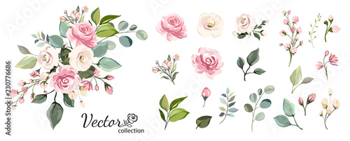 Fototapeta Set of floral branch. Flower pink rose, green leaves. Wedding concept with flowers. Floral poster, invite. Vector arrangements for greeting card or invitation design obraz