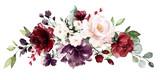 akwarela bordowe kwiaty. ilustracja kwiatowa, liść i pąki. Kompozycja botaniczna na ślub, kartkę z życzeniami. gałąź kwiatów - róże abstrakcji - 230777088