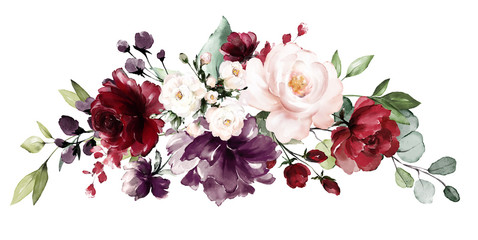 Panel Szklany Do sypialni watercolor burgundy flowers. floral illustration, Leaf and buds. Botanic composition for wedding, greeting card. branch of flowers - abstraction roses