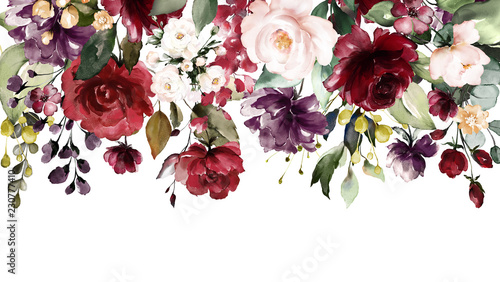 Fototapeta  watercolor flowers. floral illustration, Leaf and buds. Botanic composition for wedding or greeting card. Border, branch of flowers - abstraction roses obraz