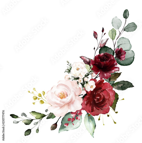 Slika na platnu watercolor burgundy flowers