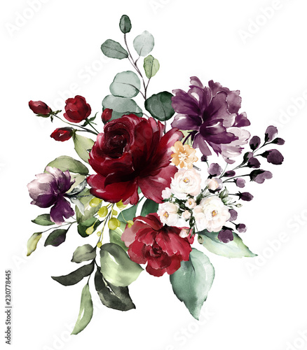 Fototapeta  watercolor burgundy flowers. floral illustration, Leaf and buds. Botanic composition for wedding, greeting card.  branch of flowers - abstraction roses obraz na płótnie