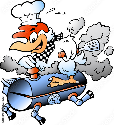 Aluminium Prints Wild West Cartoon Vector illustration of an Chef Chicken riding a BBQ grill barrel