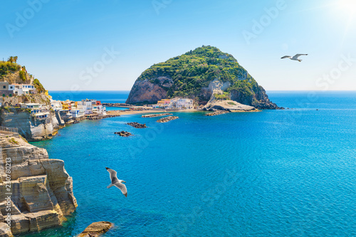 Poster Europese Plekken Giant green rock near small town Sant'Angelo on Ischia island, Italy