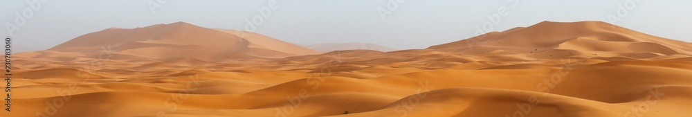 Fototapeta Amazing panorama landscape showing Erg Chebbi sanddunes desert at the Western Sahara Desert of Morocco