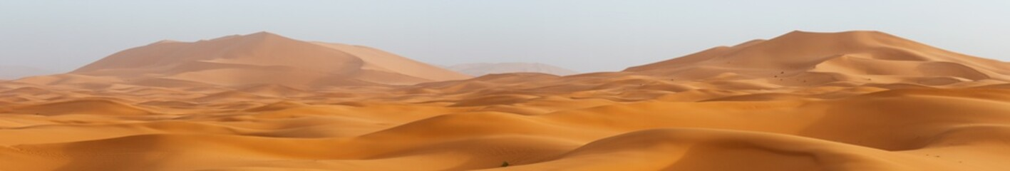 Amazing panorama landscape showing Erg Chebbi sanddunes desert at the Western...