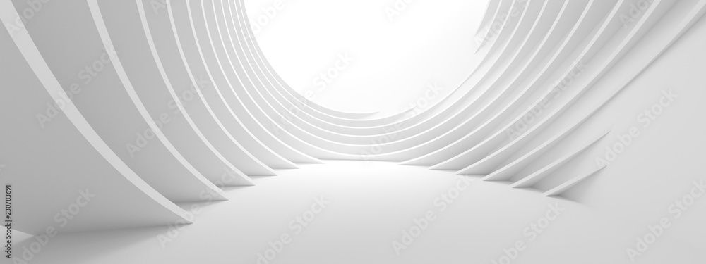 Fototapety, obrazy: 3d Illustration of White Circular Building. Modern Geometric Wallpaper. Futuristic Technology Design