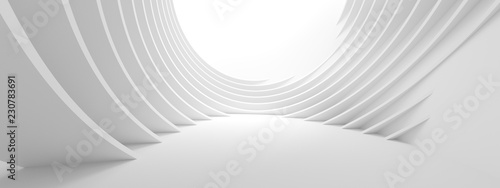 Poster Abstract wave 3d Illustration of White Circular Building. Modern Geometric Wallpaper. Futuristic Technology Design
