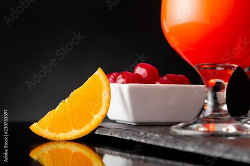 Keuken foto achterwand Cocktail Tequila sunrise and maraschino cherries