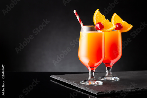 Two tequila sunrise cocktails