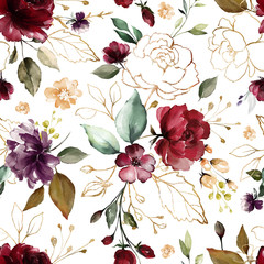 Fototapeta Do sypialni Seamless pattern with gold and burgundy flowers and leaves. Hand drawn background. floral pattern for wallpaper or fabric. Flower rose. Botanic Tile.