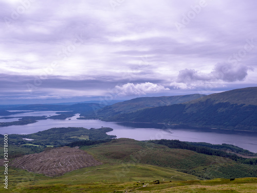 Foto op Canvas Purper view of the loch Lomond from the foothills of the Ben Lomond mountain in Scotland