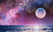 canvas print picture - Full moon in night starry sky