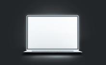 Blank White Luminous Laptop Sc...