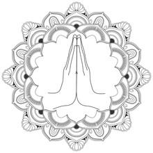 Namaste With Decorative Indian...