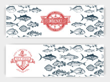 Vector Illustration Sketch - Fish Market. Card Menu Seafood. Vintage Design Template, Banner.