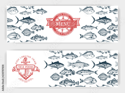 Fototapeta Vector illustration sketch - fish market. Card menu seafood. vintage design template, banner. obraz