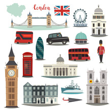 London Vector Illustration Big Collection. Cartoon United Kingdom Icons: Royal Guard, Bridge Tower And Red Bus. Westminster Abbey And Big Ben Architecture. Tourist Landmarks And Attraction