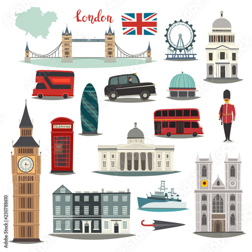 London vector illustration big collection. Cartoon United Kingdom icons: Royal Guard, Bridge Tower and red bus. Westminster Abbey and Big Ben architecture. Tourist landmarks and attraction Fototapete
