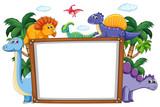 Fototapeta Dino - A dinosaur whiteboard template