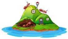 Ant Hill House On White Backgr...