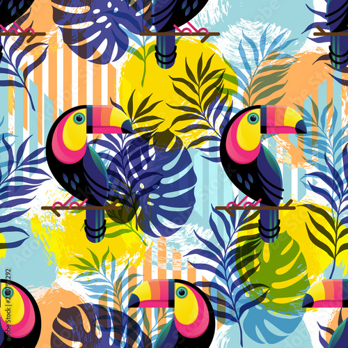 Foto op Canvas Draw Vector illustration, seamless botanical silhouette pattern with Toucans on a modern colorful geometrical background