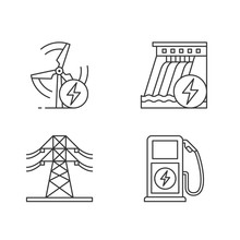 Electric Power Industry Linear Icons Set