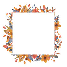 Watercolor Autumn Sqaure Frame...