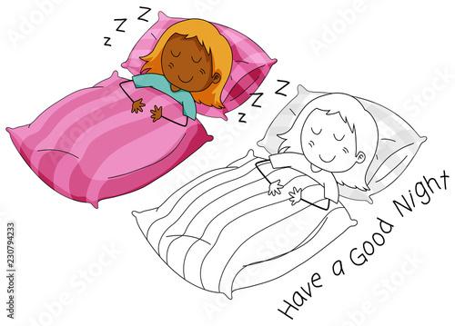 Doodle girl character sleeping