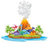 Fototapeta Dinusie - Many dinosaur in the island