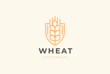 Ear Vector Logotype. Grain Wheat Logo Design. Beer Emblem.