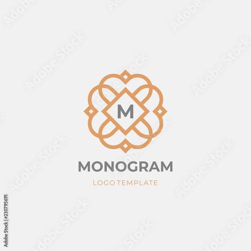 Photo Premium monogram letter M initials logo