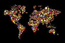 Fruit Icon World Map For Health And Nutrition