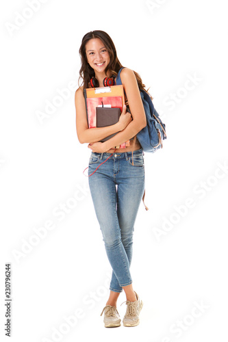 Stampa su Tela Full length smiling asian college student against isolated white background