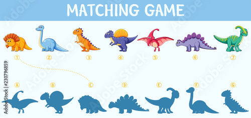 Dinosaur shadow matching game