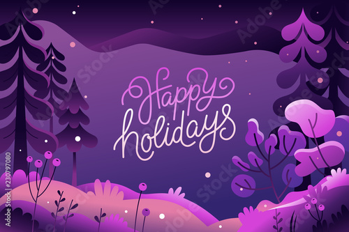 Foto op Plexiglas Snoeien Vector illustration in trendy flat style - background with copy space for text - winter landscape - background for banner, greeting card