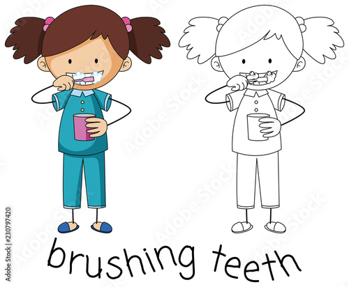 Doodle graphic of brushing teeth