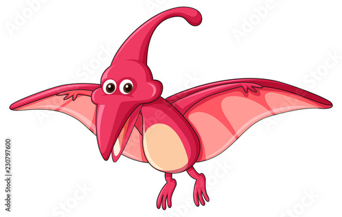 A pterodactylus dinosaur on white background