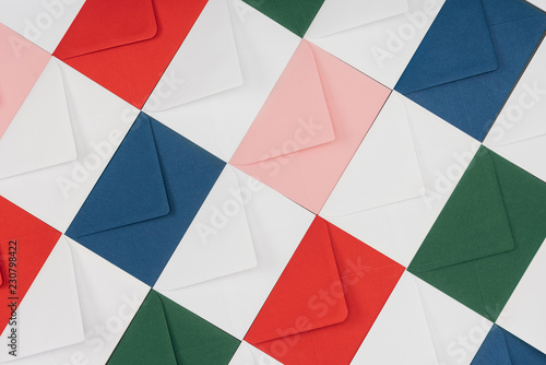 Fototapeta full frame background of colorful closed envelopes obraz