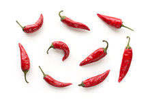 Red Hot Chilli Peppers Pattern. Food Background.