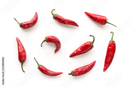 Photo  Red hot chilli peppers pattern. Food background.