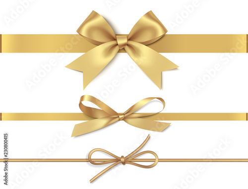 Foto Set of decorative golden bows with horizontal yellow ribbon isolated on white background