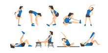Workout Girl Set. Woman Doing Fitness And Yoga Exercises. Lunges And Squats, Plank And Abc. Full Body Workout. Warming Up, Stretching