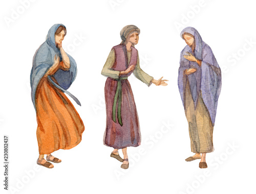 Valokuva Watercolor drawing of woman in ancient clothes