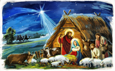 religious illustration three kings - and holy family - traditional scene with sheep and donkey - illustration for children